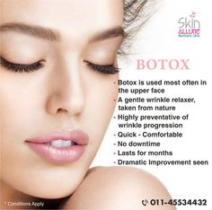 Benefits of Botox treatment for aging skin.  Stay Young, Beautiful and feel Awesome with Botox.   All you have to do is call 011-45534432, 8800883548 or visit http://www.skinallureclinic.com to book an appointment right away.  #skin #beauty #skincare #botox #antiaging #wrinkles #face #skinrejuvenation #youngerlook #agingtreatment #dermatologist #skinspecialist #skinclinic #skinallure