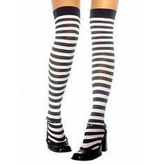 Choies Black and White Stripes Over the Knee Stocking (€5,30) ❤ liked on Polyvore featuring intimates, hosiery, tights, black, black and white tights, stripe tights, striped stockings, striped pantyhose and over-the-knee tights