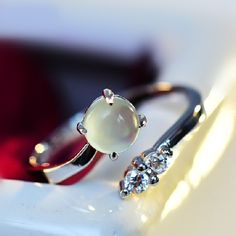 Simple Graceful Sterling Silver Prehnite or Rose Quartz Open Ring Gift for Women