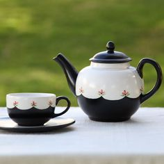 Pottery Painting Project by Duncan Ceramics.  Classic Cup of Tea - Designed and created by Suzie Shinseki.  You'll always want to make time for tea when you have a set this lovely! A satiny black and white backdrop helps pink flowers pop with personality on this classically beautiful tea set.  Country Love Crafts UK DUNCAN CERAMICS DISTRIBUTOR