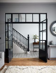 Crittall-style has been staging a comeback – and not just as windows and doors, but as walls, rear extensions, room dividers and even shower screens. Crittal Doors, Crittall Windows, Flur Design, Hallway Designs, Hallway Ideas, Room Doors, Style At Home, Home Renovation, Home Interior Design