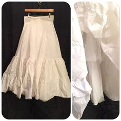 """Vintage Petticoat tiered full maxi slip size 16 Bright white tiered very full petticoat with built in small/thin shaper. Tons of tool for a full effect with zipper back.  Reads size 16 and inspection tag is still attached. Measures natural waist un-stretched 30"""" length 41"""" Vintage Intimates & Sleepwear Chemises & Slips"""
