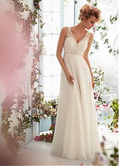 Elegant Tulle & Chiffon & Satin Empire V-neck Raised Waistline Wedding Dress