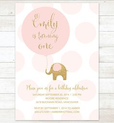 pink gold birthday invitation elephant balloon pink polka dots gold glitter elephant girl birthday party invite printable cute digital on Etsy, $14.99