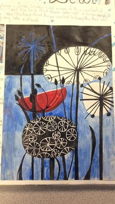 Angie Lewin - 'Clocks' using ink and paintbrush - Natural Forms