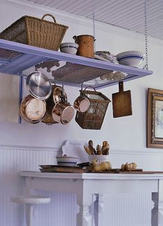 Old door pot rack Do It Yourself - New Takes On Old Doors: Salvaged Doors #Repurposed #DIY