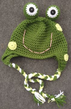 Frog Crochet Hat    https://www.etsy.com/listing/118433644/custom-girl-or-boy-frog-crochet-earflap