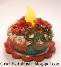 Cricut with Heart: Tea Light Birthday Cake (Art Philosophy Cartridge) Birthday Craft Gifts, Cricut Birthday Cards, Birthday Cake, Bday Cards, Cricut Cards, Birthday Stuff, Battery Operated Tea Lights, Battery Candles, Scrapbook Paper Crafts