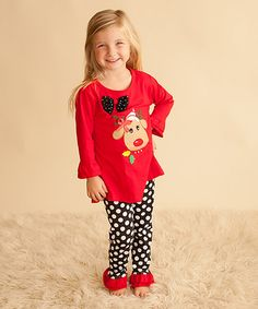 Another great find on #zulily! Red Reindeer Tunic & Polka Dot Pants - Infant, Toddler & Girls by Kid Swag #zulilyfinds
