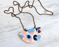 Clay and Copper pendant necklace, Reversible statement necklace, Pastel Clay necklace handmade by rubybluejewels