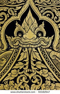 stock photo : Dragon painting in traditional Thai style