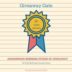 GiveawayGate.com & Ashampoo is giving away 10 Ashampoo Burning Studio 18 full software serial keys for our valuable visitors  https://www.giveawaygate.com/ashampo-burning-studio-giveaway/