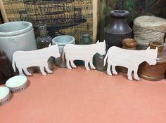 Bull 10cm x 3 - Wooden cow Shape x 3, Craftshapes