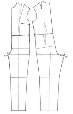 Shows how to combine bodice and pants block to create a jumpsuit.- In addition to lowering the crotch (as shown) , you generally ad length to the bodice to accommodate sitting
