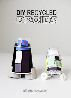 DIY Recycled Droid craft from All for the Boys blog. A fun Star Wars Day craft!