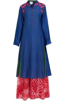 Indigo printed and embroidered tunic with shibori palazzo available only at Pernia's Pop-Up Shop.