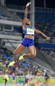 Tianna Bartoletta of the United States competes in the women's long jump final…