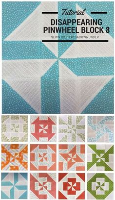 Block 8: Disappearing pinwheel quilt sampler - free tutorial