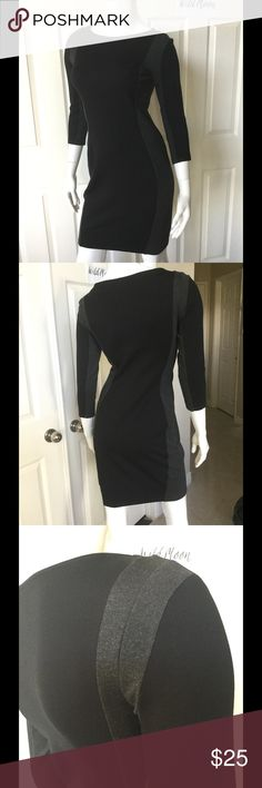 Super Slimming H&M Black Colorblock Dress This Little black dress hides a number of figure flaws with its gray color blocking panels down the sides and the insides of the arms comfortable stretch fabric easily goes from a day at the office to a night on the town with sexy sky high heels. BNWOT! Please no trades are low ball offers✨ H&M Dresses Mini