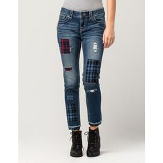 Miss Me Patch Work Mid-Rise Womens Skinny Jeans ($99) ❤ liked on Polyvore featuring jeans, mid rise skinny jeans, miss me jeans, faded skinny jeans, zipper skinny jeans and plaid skinny jeans