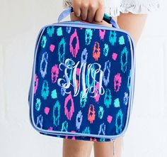 Laney Navy Leopard Monogrammed Lunch Box