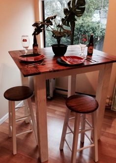 High Quality @Kreg Custom Made Farmhouse Style Bar Table With Refinished Stools. Great  For Small Dining
