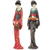Found it at Wayfair - 2 Piece Japanese Geisha Sadayakko and Koyukit Figurine Set
