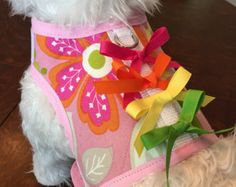 Items similar to Small Dog Harness, Navy Floral, Made in USA on Etsy