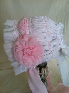 Baby Bonnet,Baby Flower and Lace Bonnet