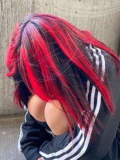 Hair Color Streaks, Hair Dye Colors, Two Color Hair, Red Streaks, Cut My Hair, Hair Cuts, Red Hair Inspo, Hair Color Underneath, Aesthetic Hair