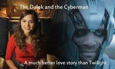 A Dalek and a Cyberman.Still a better love story than Twilight Best Love Stories, Love Story, Dalek, Nerd Geek, How To Run Faster, Better Love, Dr Who, Superwholock, Tardis