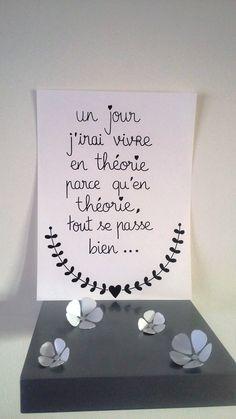 """affiche citation """"un jour j'irai vivre en théorie..."""" : Affiches, illustrations, posters par stefebricole"""