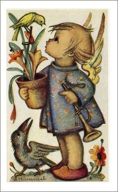 Hummel ........   Kleiner engel mit blumentopf und trompete,   vogel.