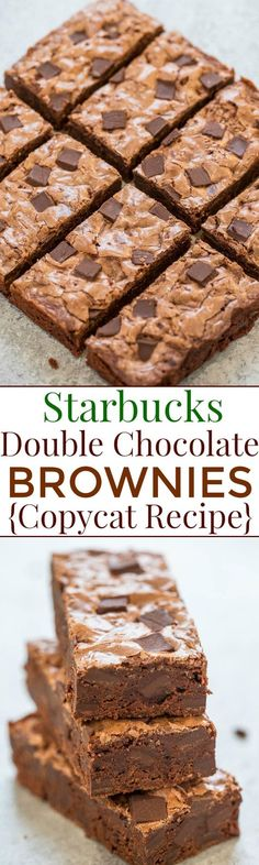 Starbucks Double Chocolate Brownies {Copycat Recipe} - Rich, fudgy, chewy, easy, no mixer recipe that tastes just like Starbucks!! Save money, make your own, and impress everyone you know!!