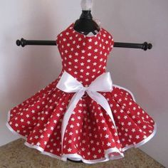 Red With White Stars Dog Dress