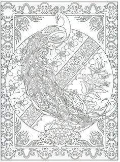 Peacock coloring page, for adults 2/31