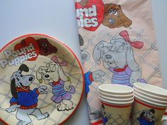 Vintage Set of Pound Puppies Party Supplies 1986