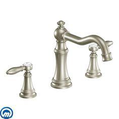 Moen Dartmoor brushed nickel two-handle low arc bathroom faucet ...