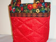 RED  BROCADE  FLORAL  Purse Tote Bag Medium by SewNSewSister