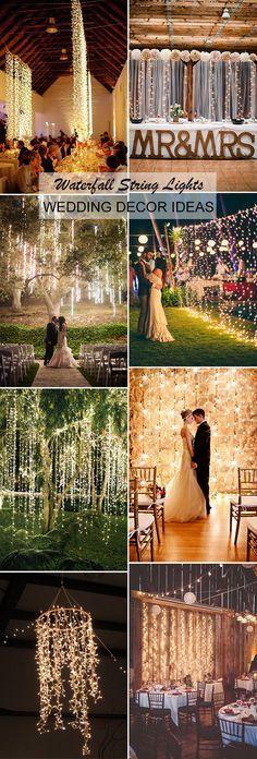 creative and diy waterfall string lights wedding decoration ideas #weddingdecoration