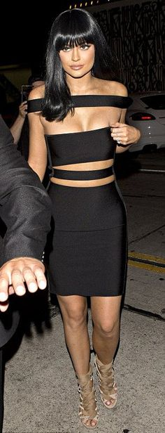 Kylie Jenner in this very sexy and seductive Black Bandage Dress