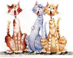 """Funny Cats""  ~~  Artist ~Carolyn Shores Wright~"