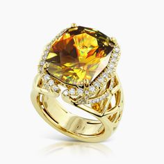 Luxurious Sphene And Diamond Ring | Kat Florence