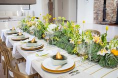 styled shoot: yellow & mint inspiration by wedding concepts | bloved weddings | UK Wedding Blog | Wedding Inspiration & Styling delicious spring yellow and mint green centrepiece tablescape with gilded pears in bowls place setting
