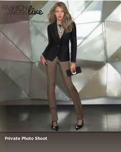 Model is wearing:  --Pale taupe high waist pants  --Raven two button jacket with darts  --Pointy high heels