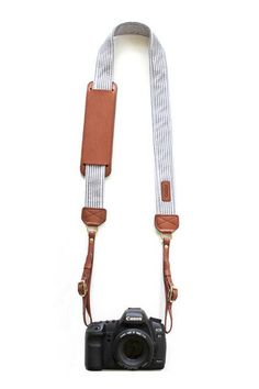 black and white seersucker and leather camera strap with monogram