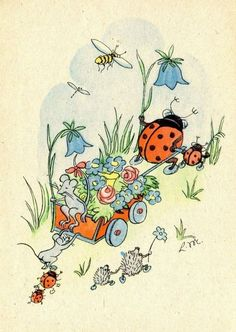 Ladybug pulling wagon with mice, and lower signed LM