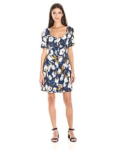 MINKPINK Women's Pacifico Tea Floral Print Dress - Front button down Mid-length
