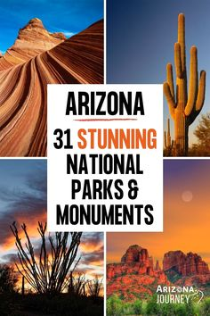There are 31(!) stunning National Parks & Monuments in Arizona, including the Grand Canyon. We show you what to see in each of them. Perfect for a Road Trip! #ArizonaTravel #USATravel #NationalParks #NationalParksArizona #NationalMonumentsArizona # Usa Travel Guide, Travel Usa, Travel Guides, Travel Tips, Arizona National Parks, Arizona Road Trip, Arizona Travel, South America Travel, North America