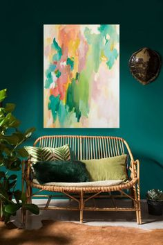 Abstract painting by Lizzy Love, colorful and vibrant artwork makes such a statement in any room!  (added to this amazing space via Photoshop)